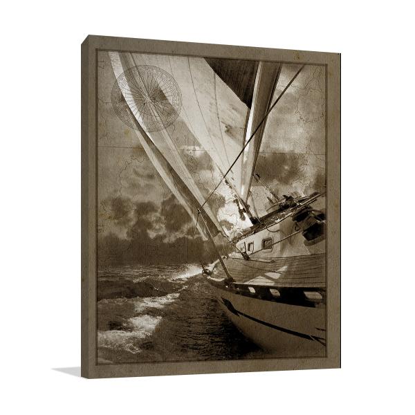 Sailing in Sepia A Wall Art Print