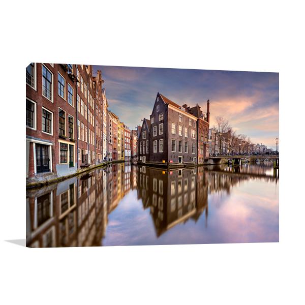 Sunset Over Amsterdam Wall Print