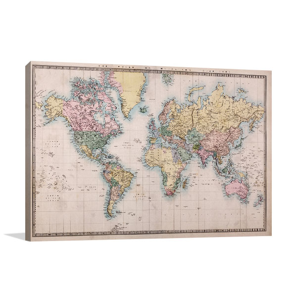 1860's World Map Artwork