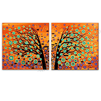 Hand Painted 2-Panel Oil Paintings on Canvas