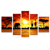Hand Painted 5-Panel Oil Paintings on Canvas