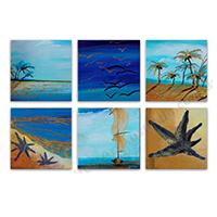 Hand Painted 6-Panel Oil Paintings on Canvas