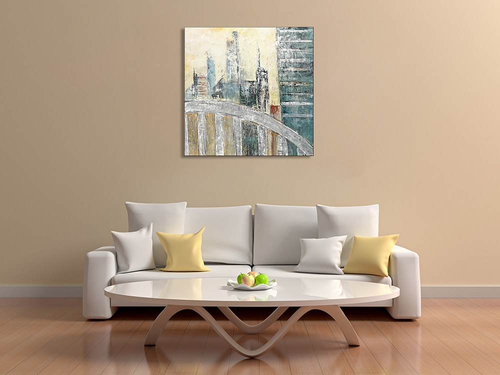 Building Paintings on Canvas Print