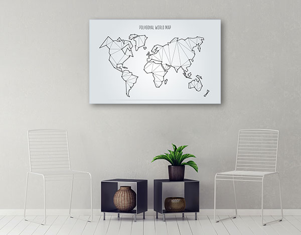 Abstract World Map Prints Canvas