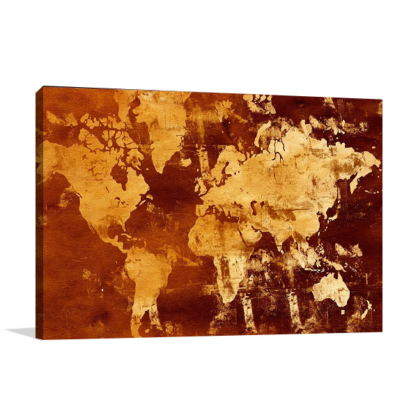 Abstract World Map Print on Canvas