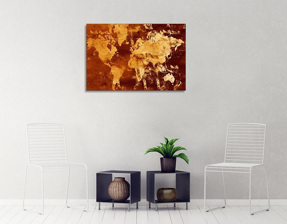 Orange Abstract Map Print