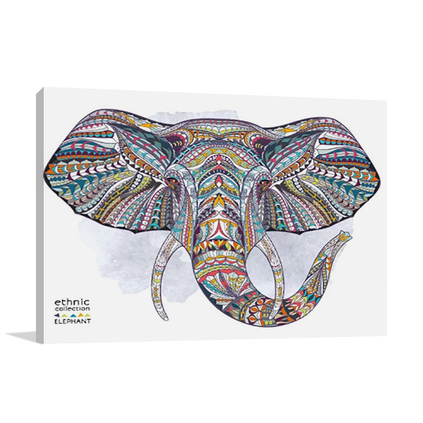 African Ethnic Elephant Wall Print