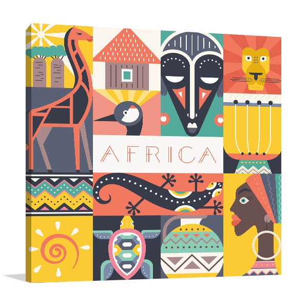 African Illustration Canvas Art Prints