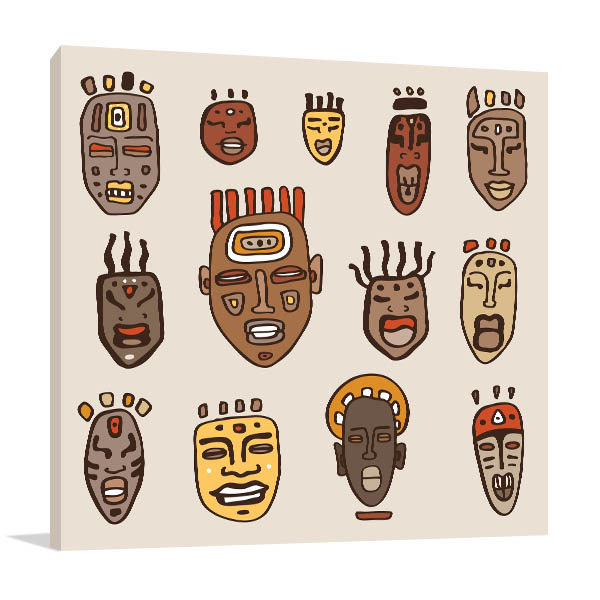 African Masks Drawn Canvas Art Prints