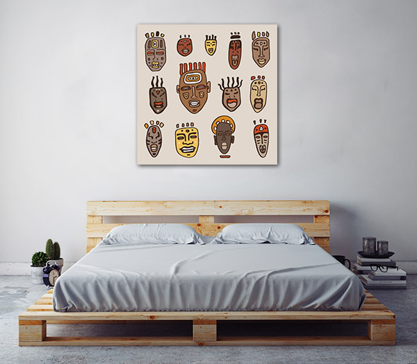 African Masks Drawn Artwork