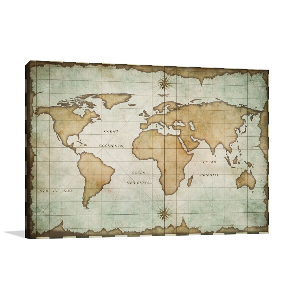 Aged Old World Map Canvas Art