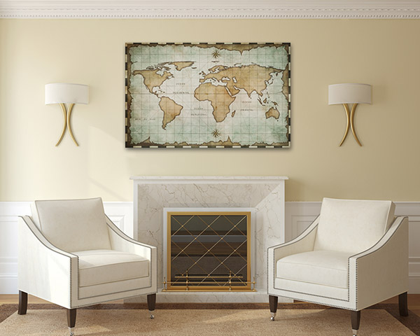 Aged Old World Map Canvas Prints