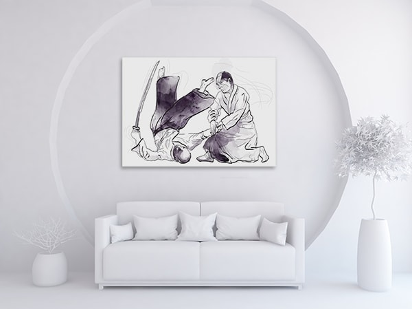 Aikido Martial Canvas Artwork on the Wall