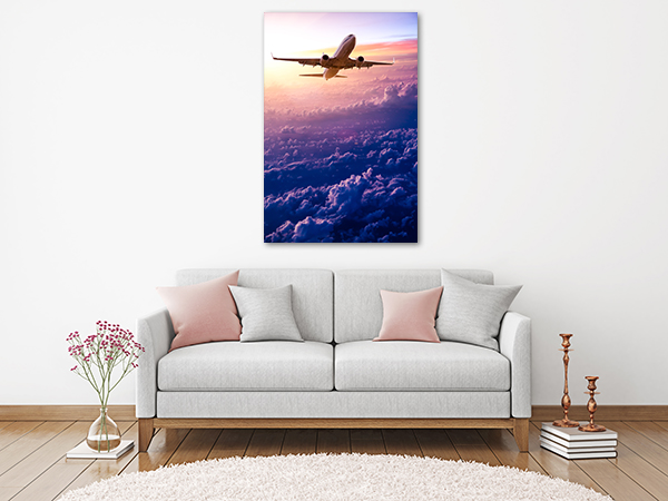 Airplane Sunset Canvas Art Print on the wall