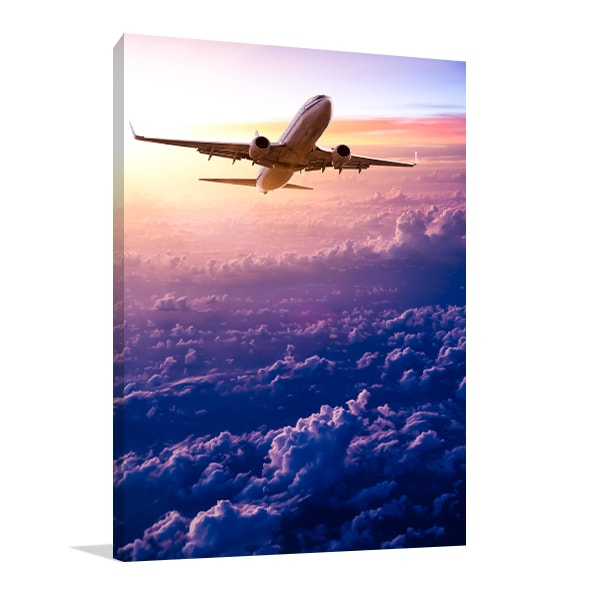 Airplane Sunset Canvas Prints