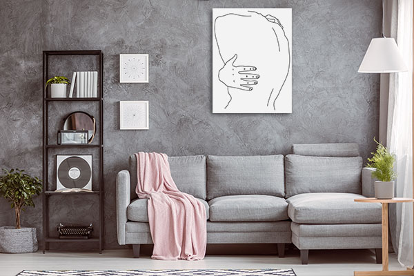 Alone and Lonely Line Canvas Wall Art