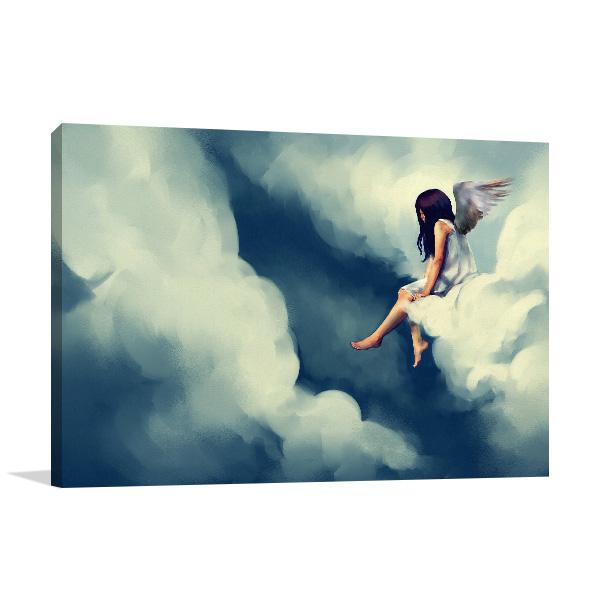 Angel on Cloud Canvas Art