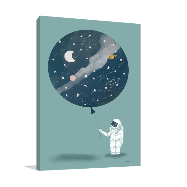 Astronaut Balloon Wall Art Print