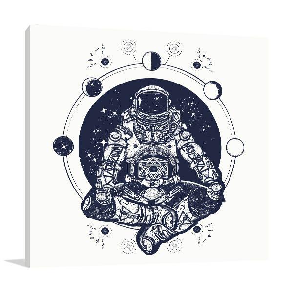 Astronaut in Lotus Canvas Prints