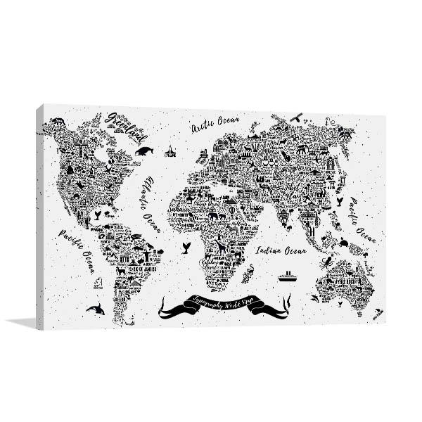 Attraction World Map Wall Art