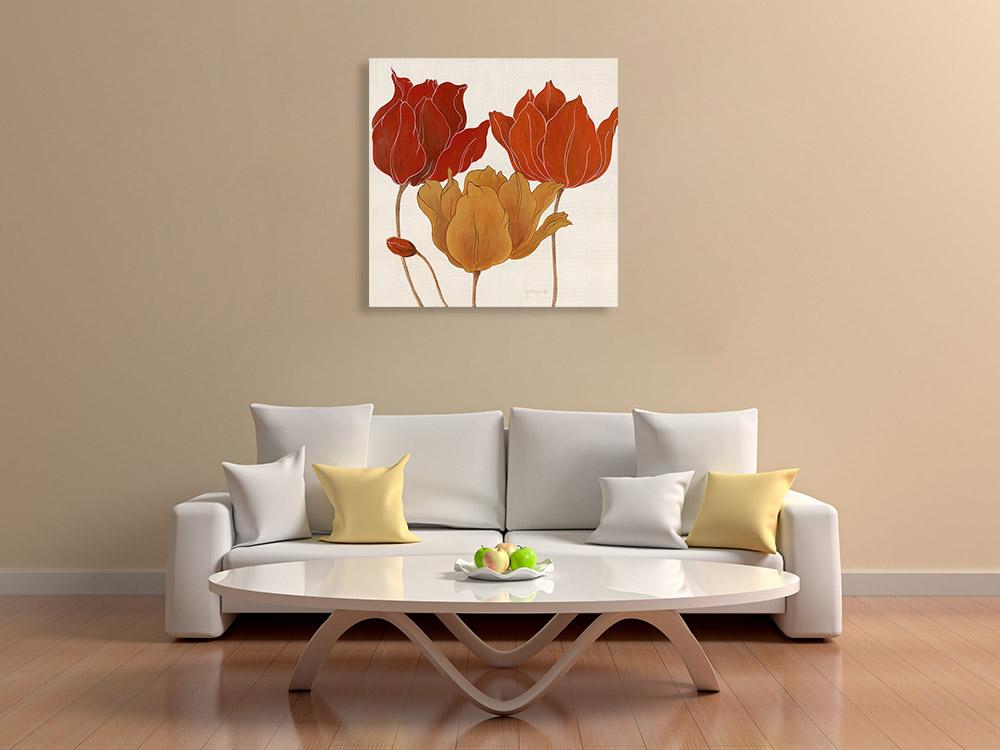Floral Red Orange Art Print