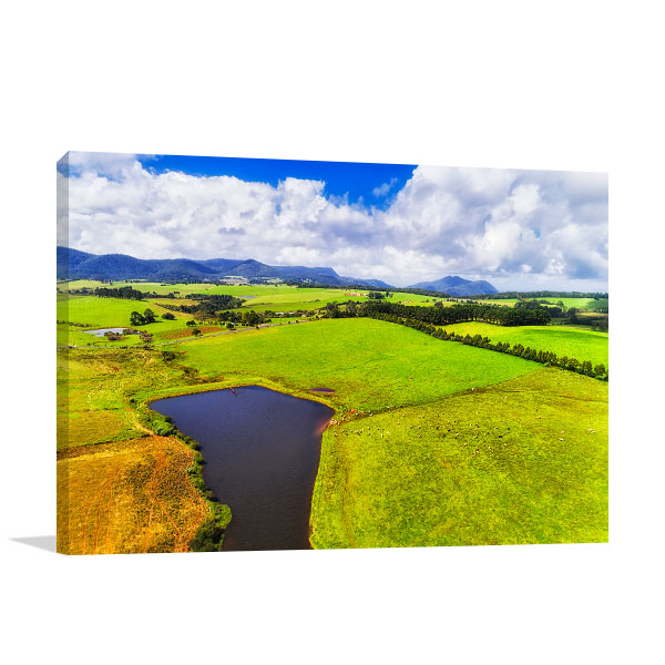 Australia Art Print Cattle Farm Fields
