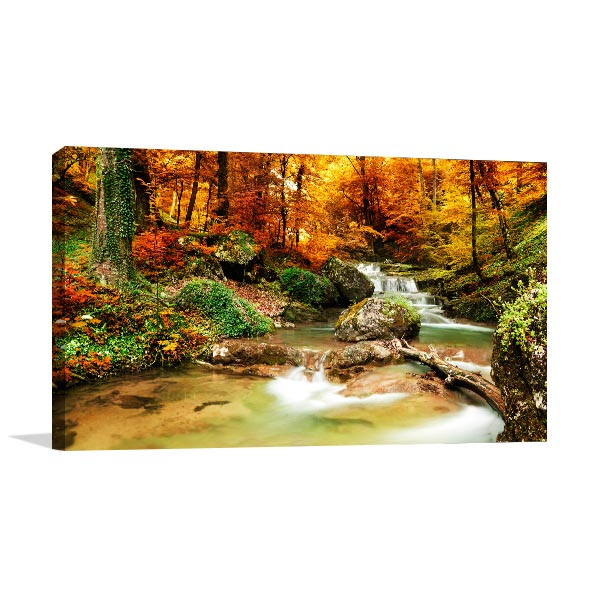 Autumn Creek Woods Canvas Art Prints