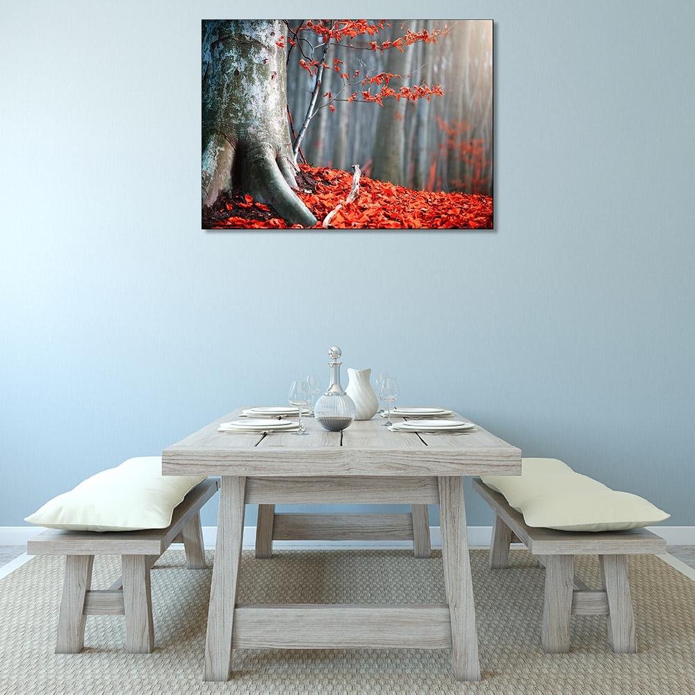 Orange Autumn Print Canvas