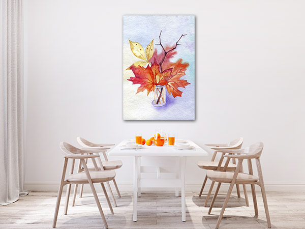 Autumn Leaves In A Glass Jar Prints Canvas