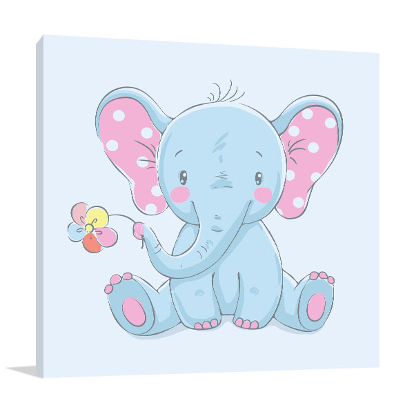 Baby Elephant with Flower Art Prints