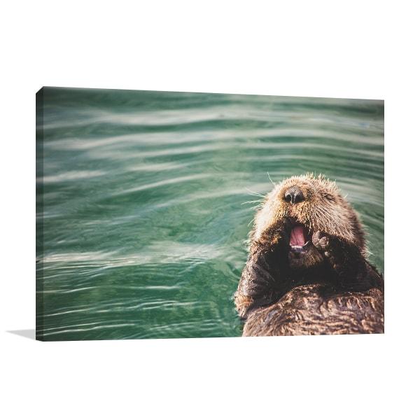 Baby Otter Canvas Art Print Wall Art