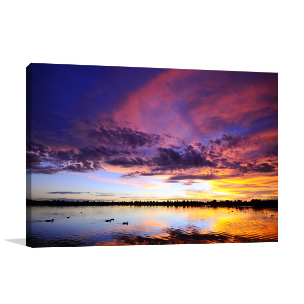 Ballarat Art Print Sunset Over Lake