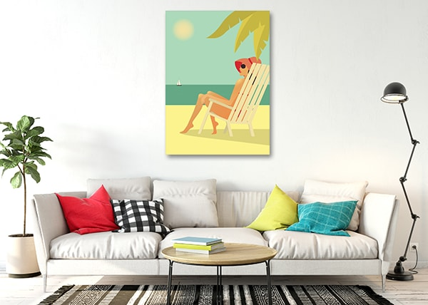 Beach Girl Canvas Art Print on the Wall