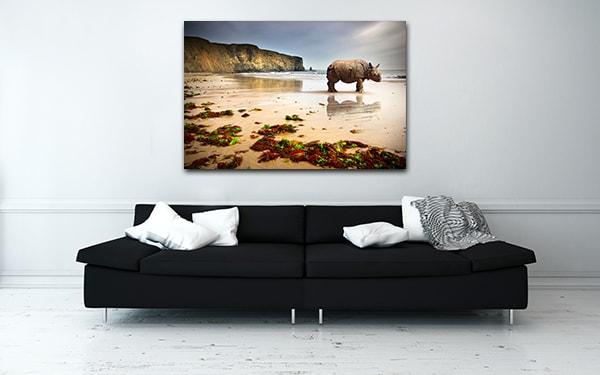 Beach Rhino Print Artwork