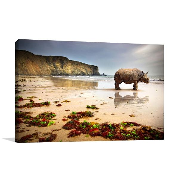 Beach Rhino Canvas Art Prints