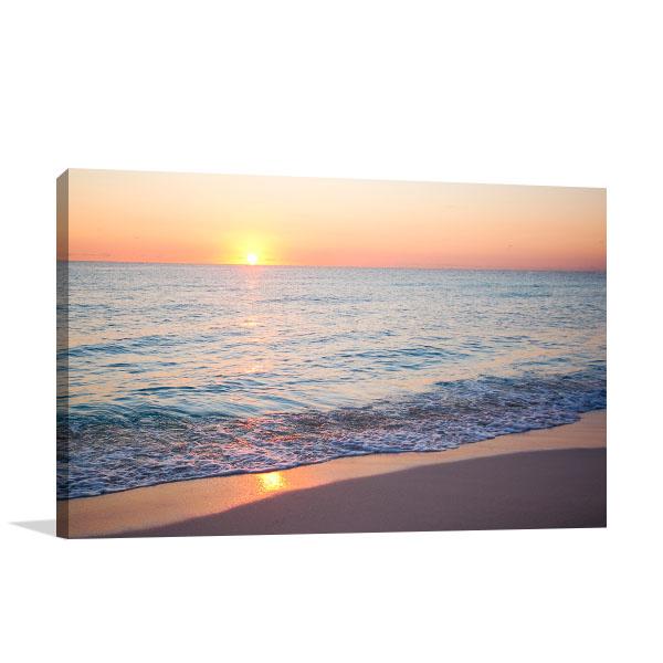 Beach Sunrise In Cancun Canvas Art Prints