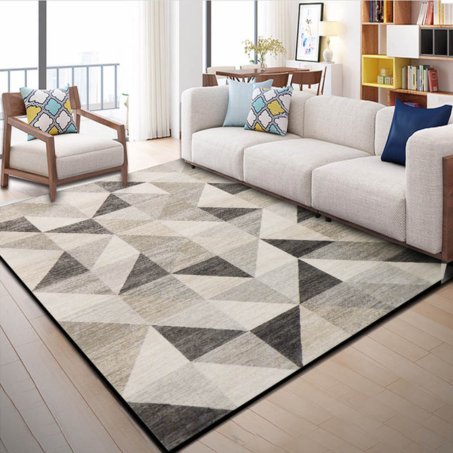 Beige Geometric Patterned Rug Carpet Australia