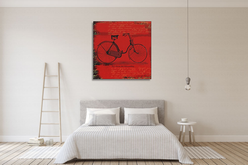 Red Square Canvas Wall Art Print