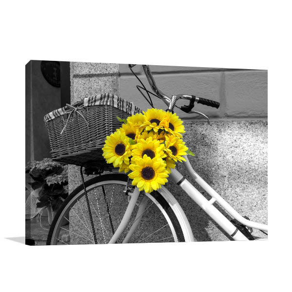 Bicycle With Sunflowers Canvas Art
