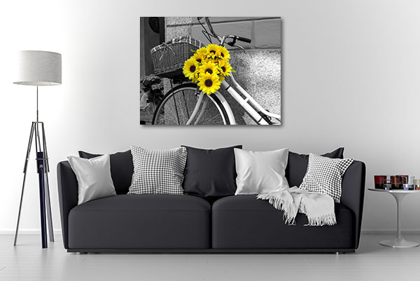 Bicycle With Sunflowers Canvas Art Prints