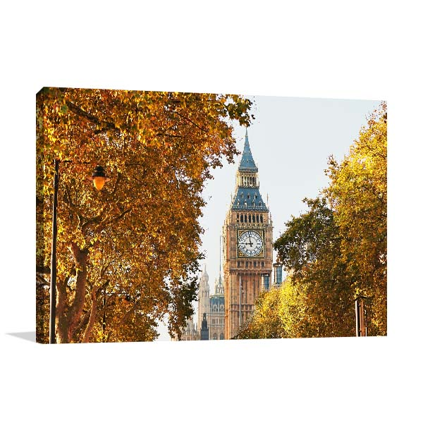 Big Ben in Autumn Trees Artwork