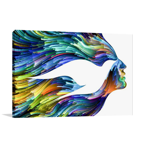 Bird Woman Face Print on Canvas