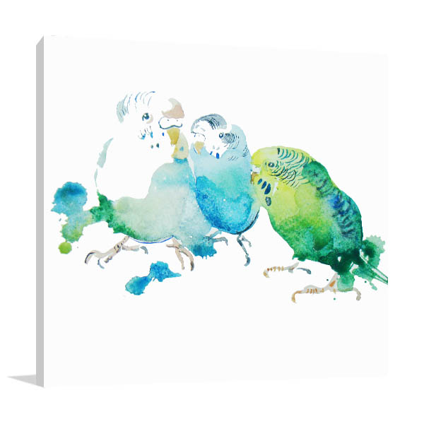 Birds In Watercolour Canvas Art