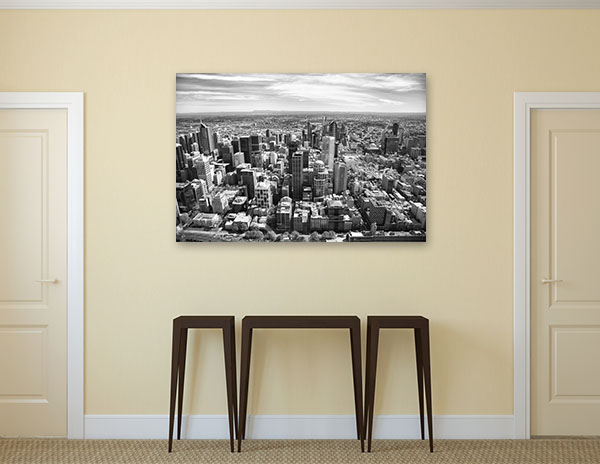 Black and White Aerial View of Melbourne Canvas Art