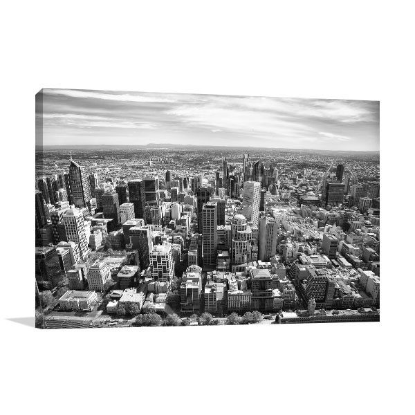 Black and White Aerial View of Melbourne Wall Art