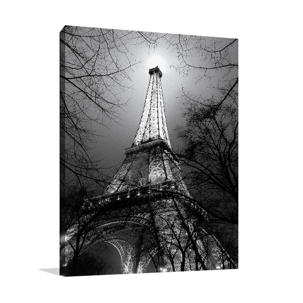 Black and White Eiffel Tower Canvas Print