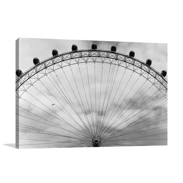 Black and White London Eye Wall Art Print