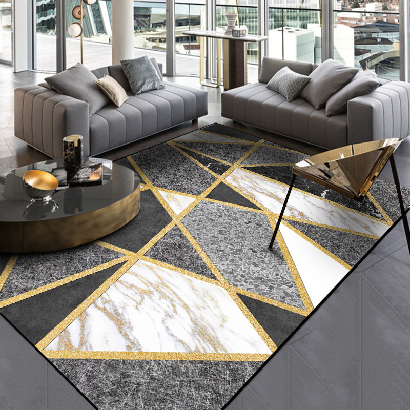 Black Grey Geometric Rug Carpet Adelaide