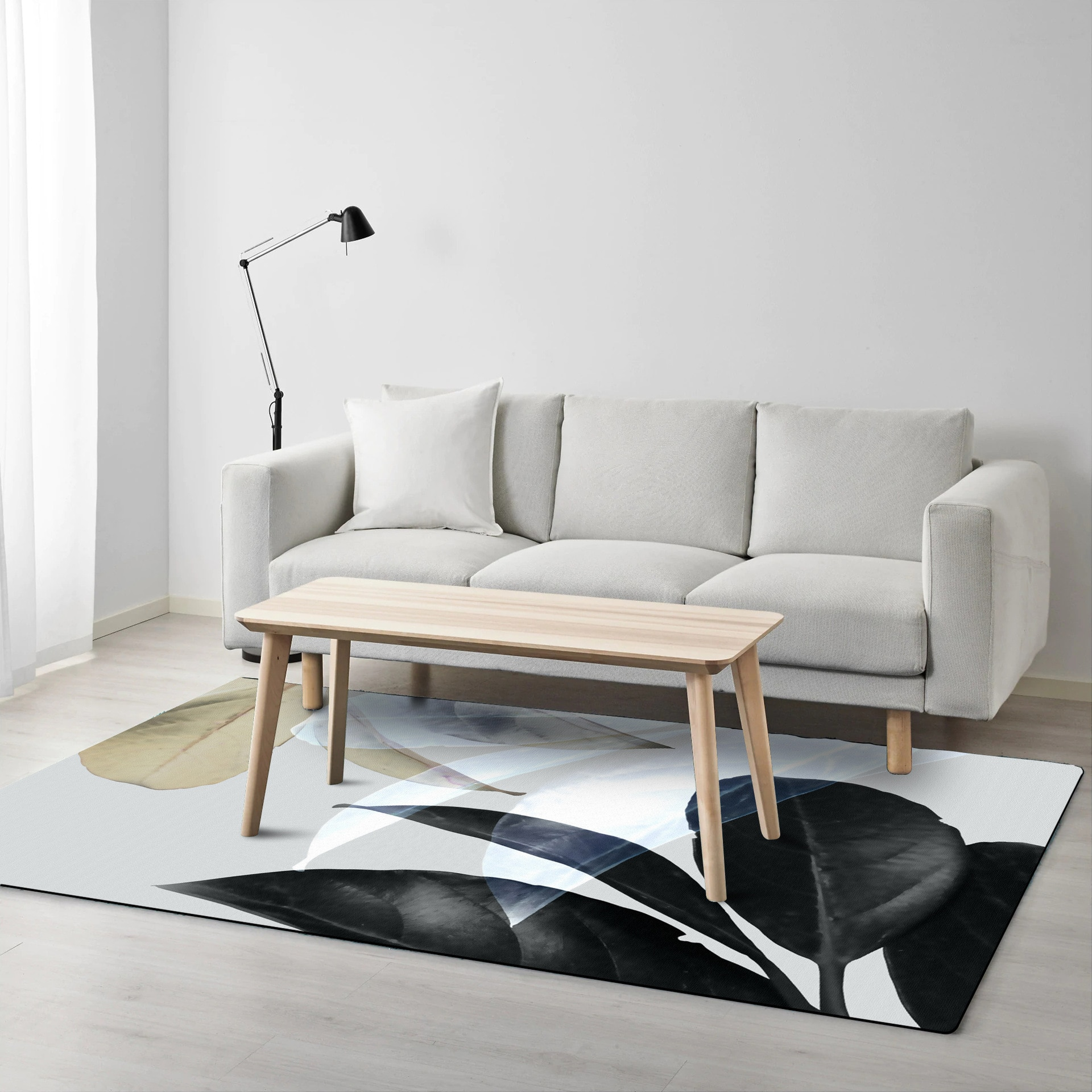 Black Leaf Flower Art Rugs | Sydney