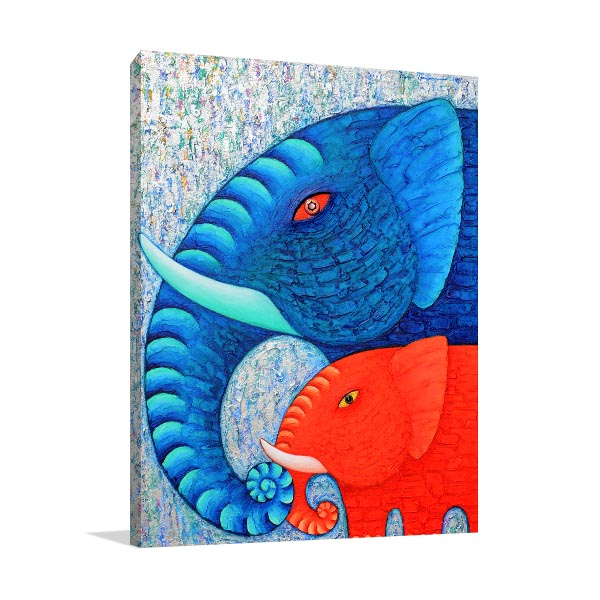 Blue And Red Elephants Canvas Art